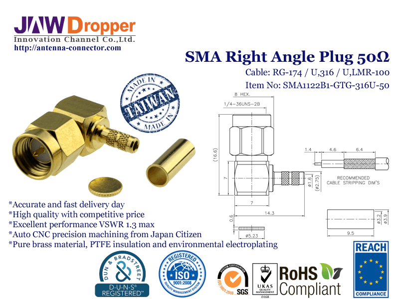 SMA Plug Male Right Angle Coaxial Connector 50 ohms SMA1122B1 GTG 316U 50