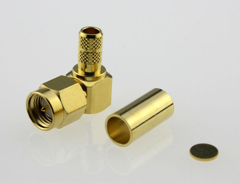 SMA Plug Male Right Angle Coaxial Connector 50 ohms SMA1122B2 GTG L200 50 Front