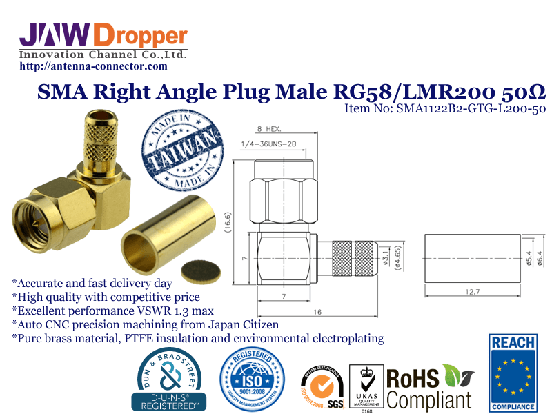 SMA Plug Male Right Angle Coaxial Connector 50 ohms for RG-58 / U,LMR-195 / U,LMR-200 Cable