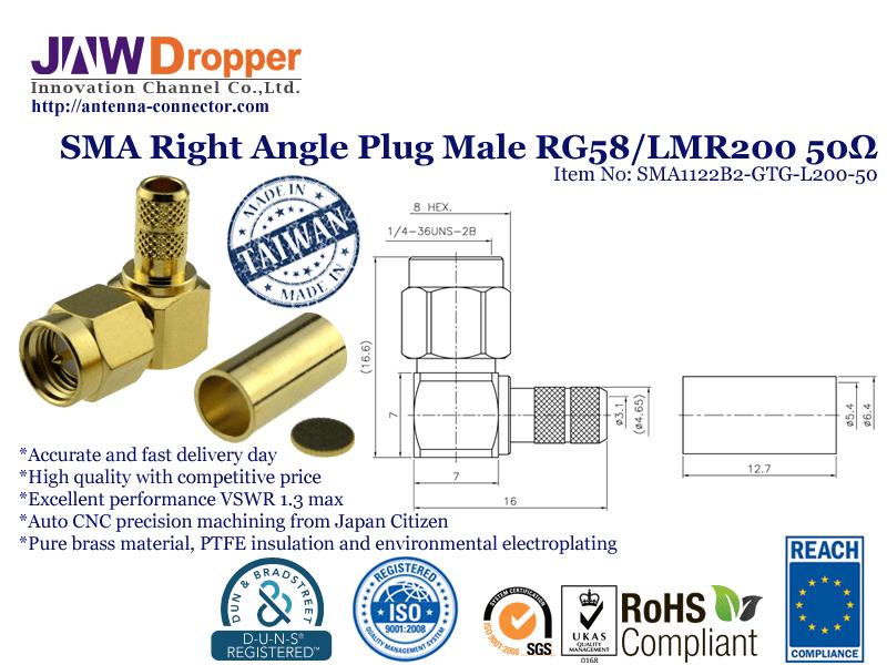 SMA Plug Male Right Angle Coaxial Connector 50 ohms SMA1122B2 GTG L200 50