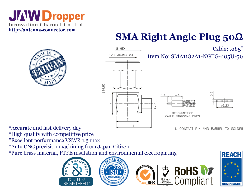 "SMA Plug Male Right Angle Coaxial Connector 50 ohms for .085"" Cable"