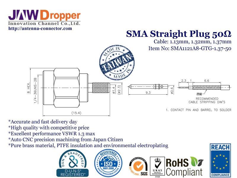 SMA Plug Male Straight Coaxial Connector 50 ohms SMA1121A8 GTG 1.37 50