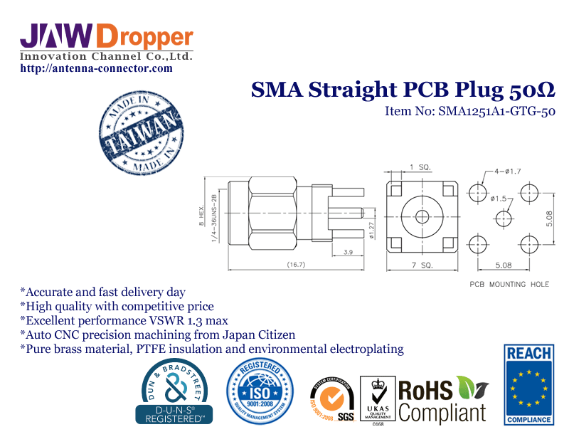 SMA Plug Male Straight PCB Coaxial Connector 50 ohms