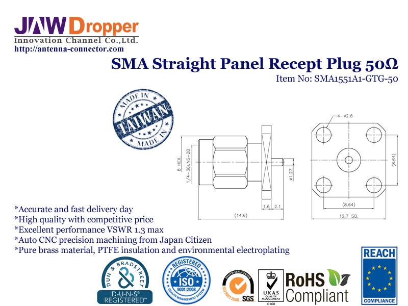SMA Plug Male Straight Panel Receptacle Coaxial Connector 50 ohms SMA1551A1 GTG 50