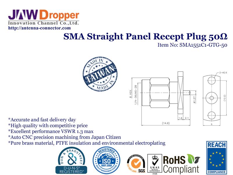 SMA Plug Male Straight Panel Receptacle Coaxial Connector 50 ohms SMA1551C1 GTG 50