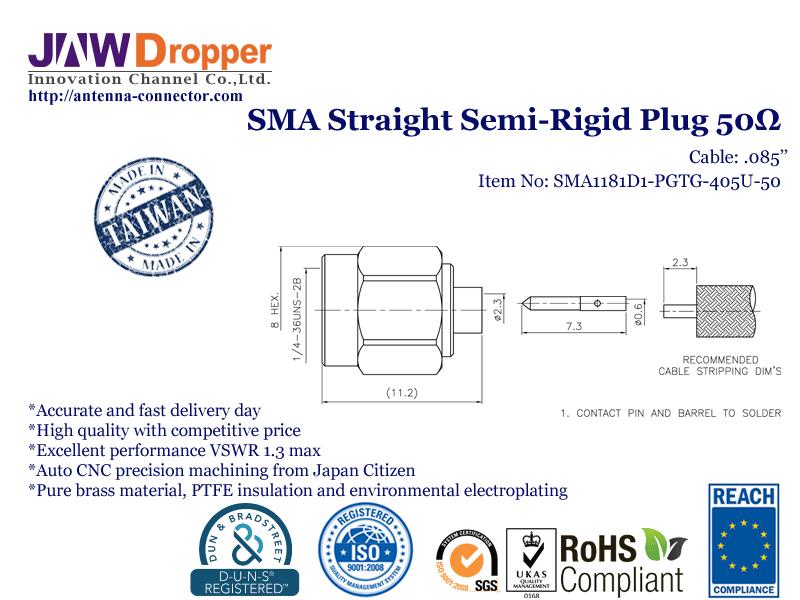 SMA Plug Male Straight Semi Rigid Coaxial Connector 50 ohms SMA1181D1 PGTG 405U 50