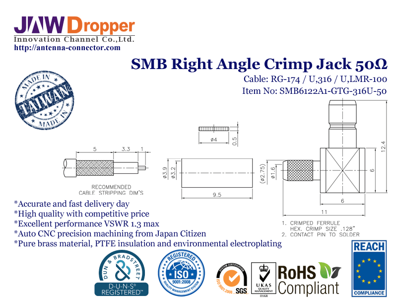 SMB Jack Female Right Angle Crimp Coaxial Connector 50 ohms for RG-174 / U,316 / U,LMR-100 Cable
