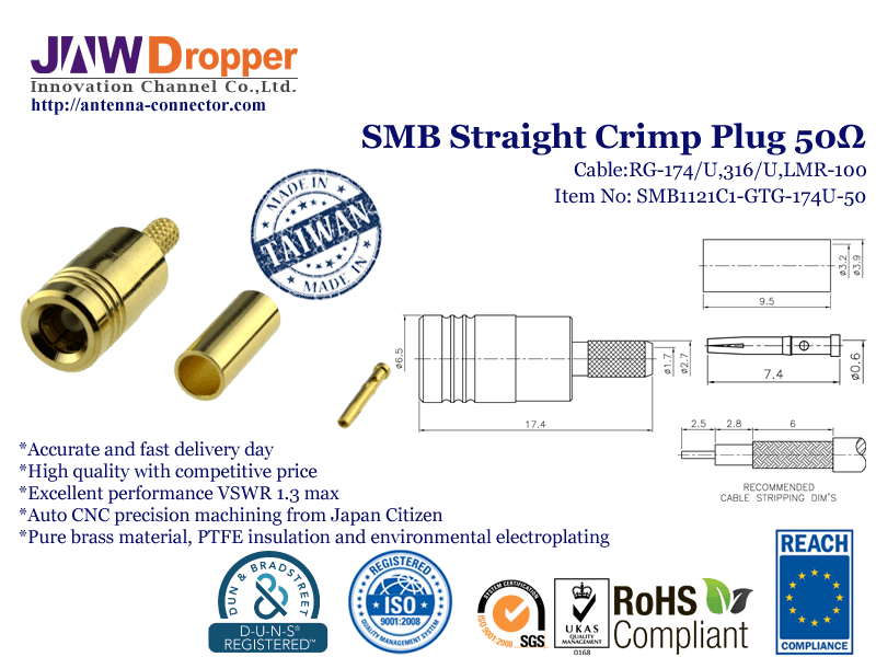 SMB Plug Male Straight Crimp Coaxial Connector 50 ohms for RG-174 / U,316 / U,LMR-100 Cable